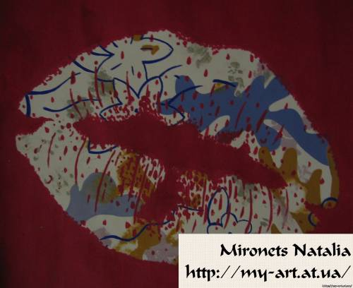 Акварелью абстракция губы абстракция